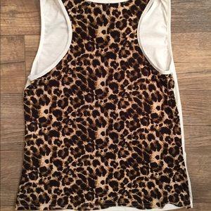 Cream and Leopard Print Sleeveless Top